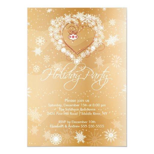Snowflake Heart Elegant Holiday Party Invitation | Zazzle