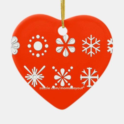 Snowflake Heart Ornament. Customize Me! Ceramic Ornament