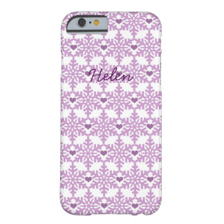Snowflake Heart Pattern - Custom name Barely There iPhone 6 Case
