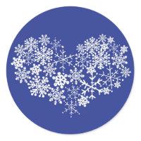 Snowflake Heart Winter Wedding Envelope Seal Sticker