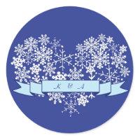 Snowflake Heart Winter Wedding Favor Sticker