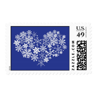 Snowflake Heart Winter Wedding Postage