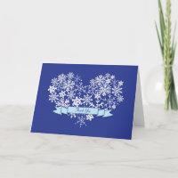 Snowflake Heart Winter Wedding Thank You Card