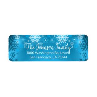 SNOWFLAKE Holiday Christmas Blue Return Address Label