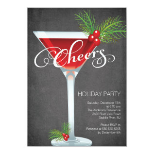 Snowflake Holiday Cocktail Party Invitation at Zazzle