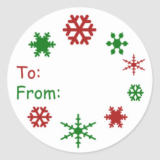 Snowflake Holiday Gift Tag Round Sticker