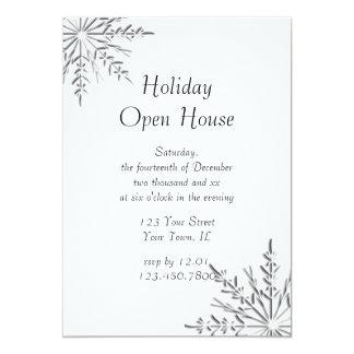 "Snowflake Holiday Open House Party Invitation 5"" X 7"" Invitation Card"
