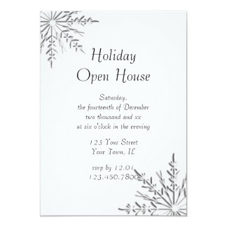 Snowflake Holiday Open House Party Invitation