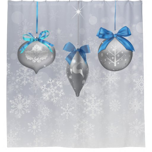 Snowflake holiday ornaments shower curtain zazzle