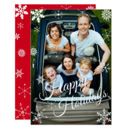 Snowflake Holiday Personalize It Flat Greeting Card