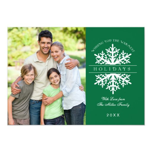 Snowflake Holiday Photo Card Personalized Invites