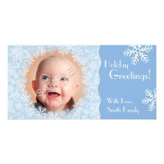 Snowflake Holiday Photo Frame Card Photo Greeting Card