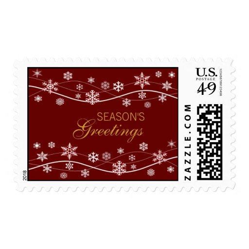 Snowflake Holiday Red Postage Stamps