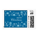 Snowflake Holiday Teal Blue Postage Stamps