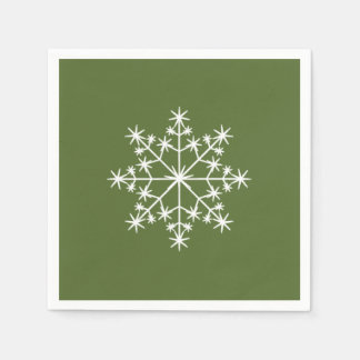 Snowflake Holiday Xmas Dark Olive Green Christmas Napkin
