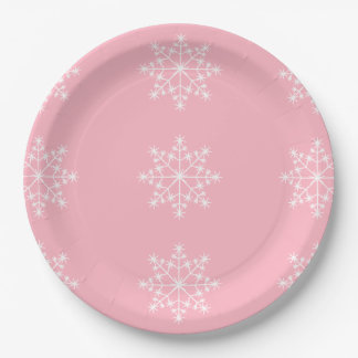 Snowflake Holidays Cherry Blossom Pink Christmas Paper Plate