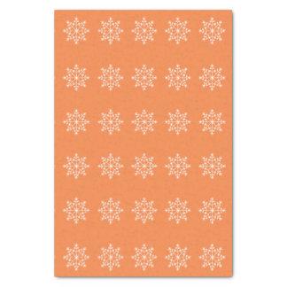 "Snowflake Holidays Pattern Vibrant Orange 10"" X 15"" Tissue Paper"