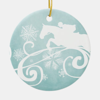Snowflake Horse Holiday Christmas Double-Sided Ceramic Round Christmas Ornament