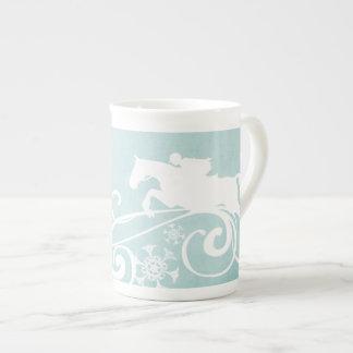 Snowflake Horse Holiday Christmas Tea Cup