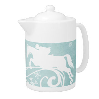 Snowflake Horse Holiday Christmas Teapot