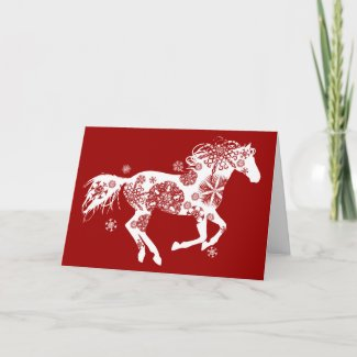 Snowflake Horse Holiday Greeting Card