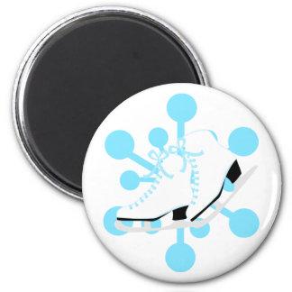 Snowflake Ice Skates 2 Inch Round Magnet