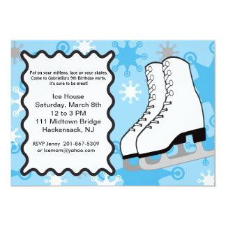 Snowflake Ice-skates Birthday party Invitation