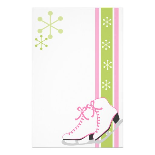 Snowflake Ice Skates Personalized Stationery
