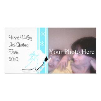 Snowflake Ice Skates Custom Photo Card