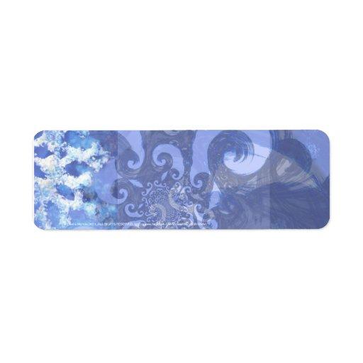 snowflake in blue 8, winter winds custom return address label