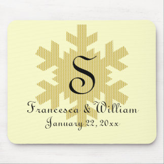 """Snowflake in Gold & White Plaid"" - Monogram (1) Mouse Pad"