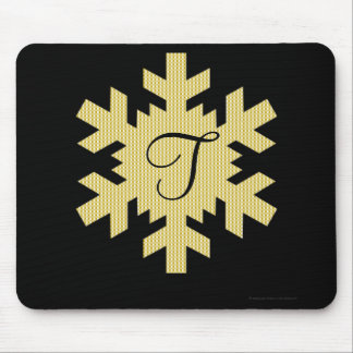 """Snowflake in Gold & White Plaid"" - Monogram (a) Mouse Pad"