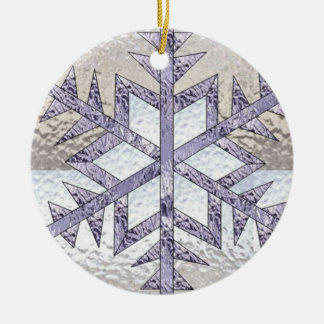 Snowflake in Stained Glass Ceramic Ornament