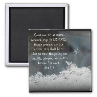 Snowflake ~ Isa 1:18 2 Inch Square Magnet