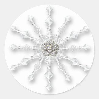 Snowflake Jewel Classic Round Sticker