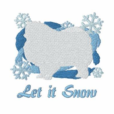 Snowflake Keeshond Embroidered Long Sleeve Shirt
