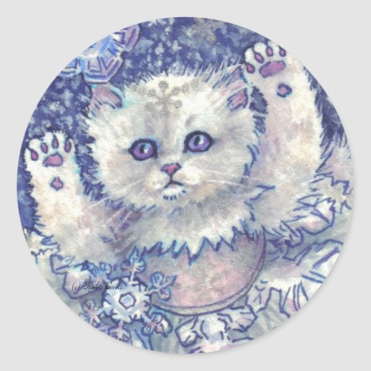 Snowflake Kitten Stickers