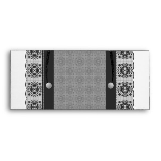 Snowflake Lace And Brads Set (Black And White) Envelope