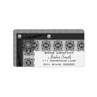 Snowflake Lace And Brads Set (Black And White) Label