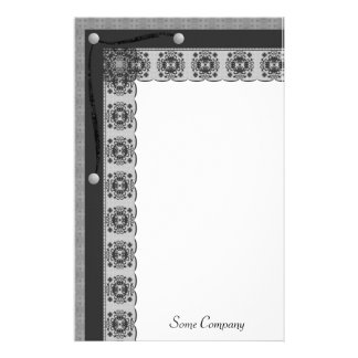 Snowflake Lace And Brads Set (Black And White) Stationery