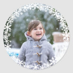 """Snowflake Lace Photo Holiday Sticker<br><div class=""""desc"""">Delicate white snowflakes frame your favorite photo on this holiday sticker and envelope seal,  making it perfect for showcasing a new baby,  puppy or pet,  newlyweds or special family photo. This sticker is part of the Snowflake Lace Photo Holiday Collection. photo courtesy of: Photography © Storytree Studios,  Stanford,  CA</div>"""