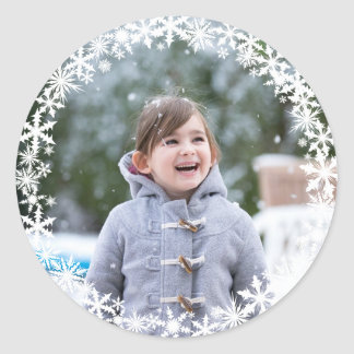 Snowflake Lace Photo Holiday Sticker