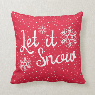 Snowflake Let it Snow Red Christmas Throw Pillow