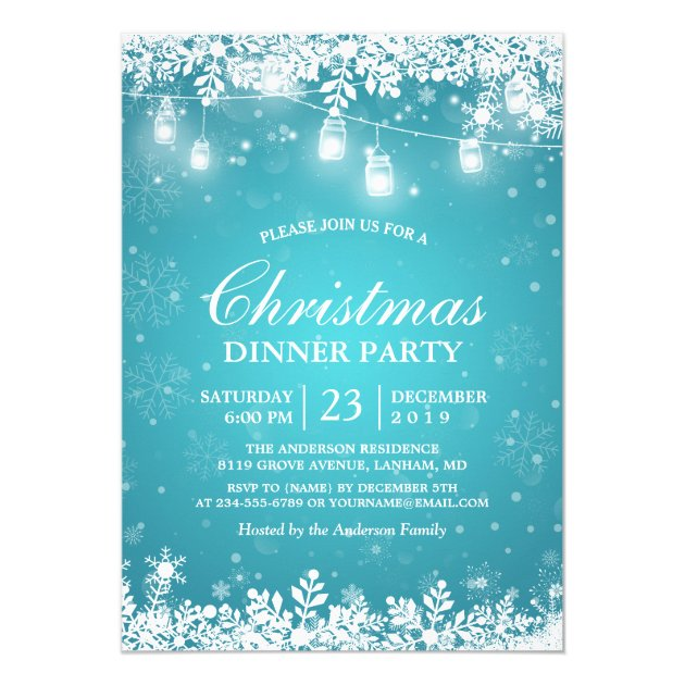Snowflake Lights Turquoise Holiday Christmas Party Card