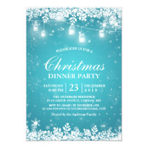 Snowflake Lights Turquoise Holiday Christmas Party Invitation