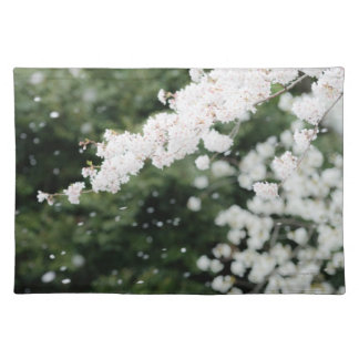 Snowflake like cherry blossoms cloth placemat