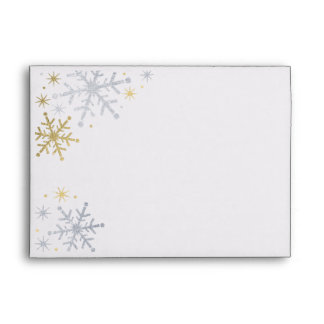 Snowflake Mailing Envelopes | Silver and Gold