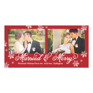 Snowflake Married and Merry 2-Photo Holiday Card