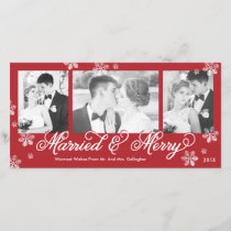 Snowflake Married and Merry 3-Photo Holiday Card
