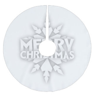 Snowflake Merry Christmas Brushed Polyester Tree Skirt